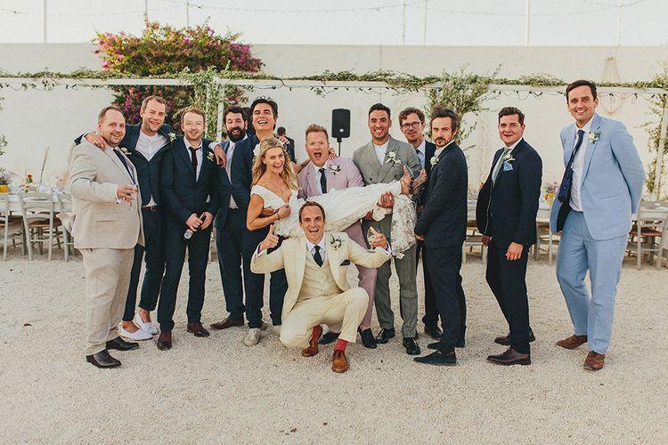 Groomsmen | Bride in Custom Clemence Halfpenny London Bridal Gown | Brightly Coloured Destination Wedding at Masseria Potenti Wedding Venue, Puglia, South Italy | Petar Jurica Photography | Marco Odorino Film