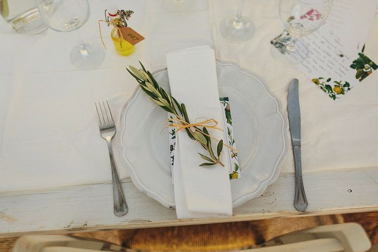 Elegant Place Setting | Brightly Coloured Destination Wedding at Masseria Potenti Wedding Venue, Puglia, South Italy | Petar Jurica Photography | Marco Odorino Film