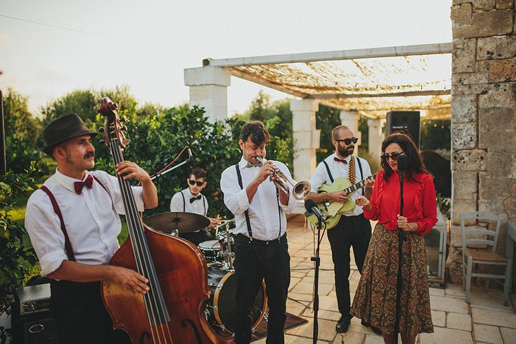 Jazz Wedding Band | Brightly Coloured Destination Wedding at Masseria Potenti Wedding Venue, Puglia, South Italy | Petar Jurica Photography | Marco Odorino Film