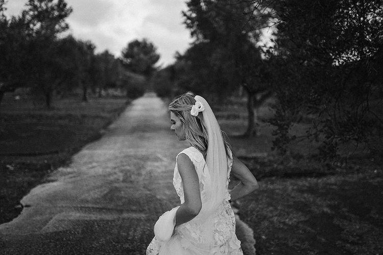 Bride in Custom Clemence Halfpenny London Bridal Gown | Brightly Coloured Destination Wedding at Masseria Potenti Wedding Venue, Puglia, South Italy | Petar Jurica Photography | Marco Odorino Film
