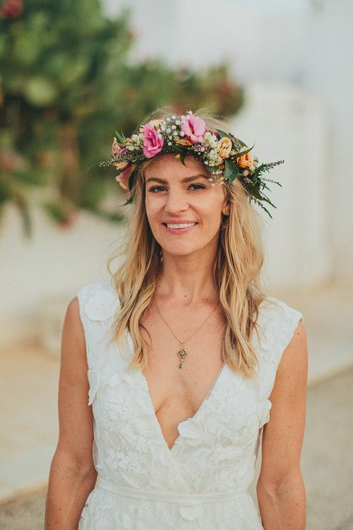 Brightly Coloured Flower Crown | Bride in Custom Clemence Halfpenny London Bridal Gown | Brightly Coloured Destination Wedding at Masseria Potenti Wedding Venue, Puglia, South Italy | Petar Jurica Photography | Marco Odorino Film