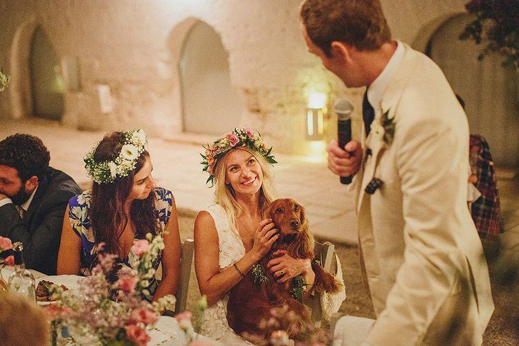 Outdoor Wedding Reception Speeches | Brightly Coloured Destination Wedding at Masseria Potenti Wedding Venue, Puglia, South Italy | Petar Jurica Photography | Marco Odorino Film