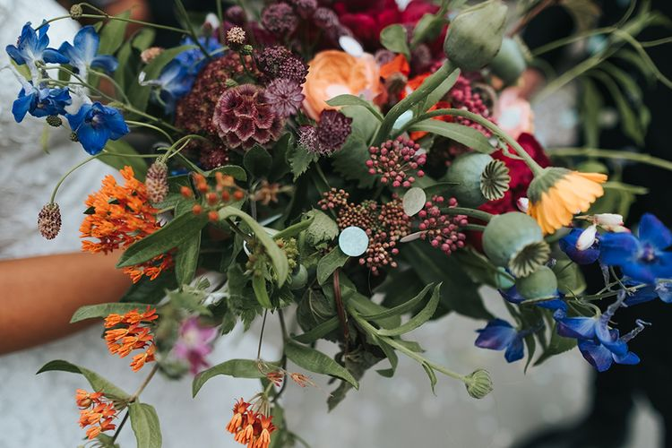 Bridal Bouquet with Bright Wild Flowers | High Street Wedding Dress for an Intimate Crouch End Pub Wedding with Bright Flowers | Miss Gen Photography