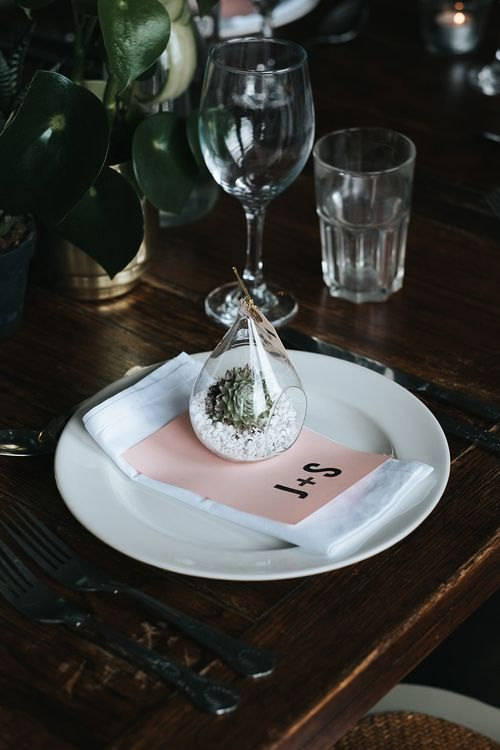 Terranium Place Setting | Pot Plant in Gold Vase | Victoria Stakes Pub Wedding Reception | High Street Wedding Dress for an Intimate Crouch End Pub Wedding with Bright Flowers | Miss Gen Photography
