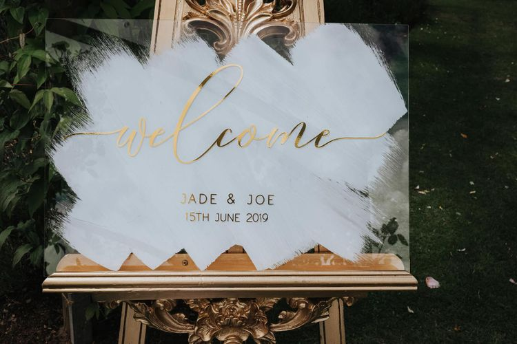 Acrylic Wedding Welcome Sign With Gold Type