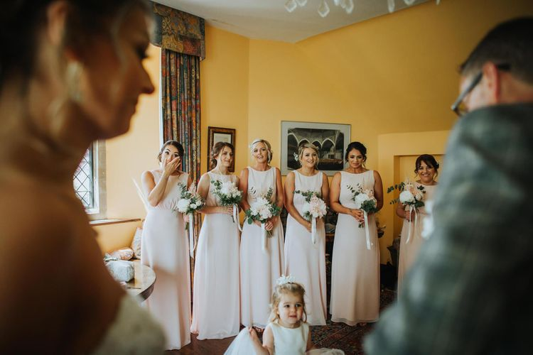 Bridesmaids Get Emotional While Bride Shows Them Wedding Dress