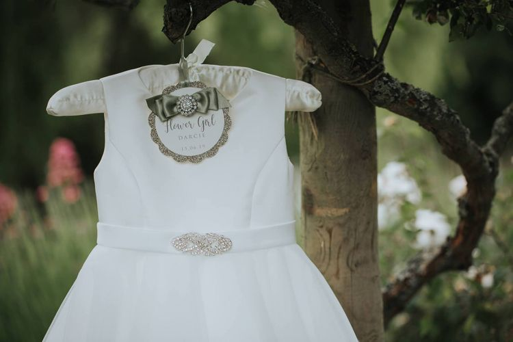 Flower Girl Dress With Personalised Hanger
