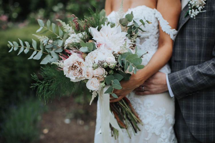 Beautiful Bridal Bouquet With White and Blush Flowers