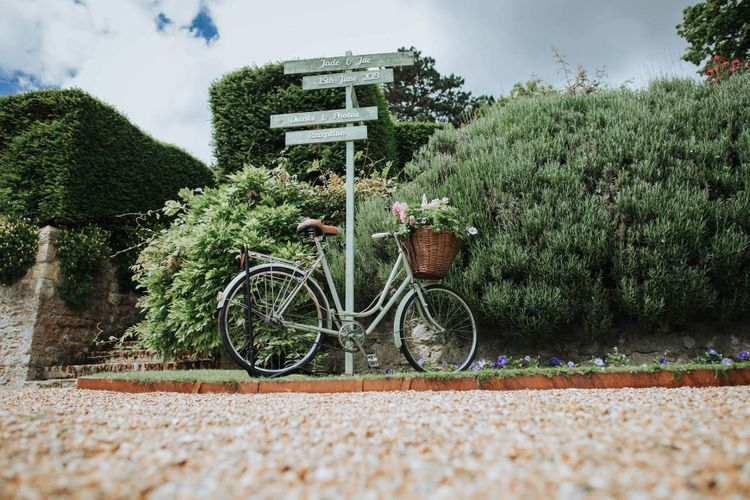 Bike Wedding Sign At Nettlestead Place
