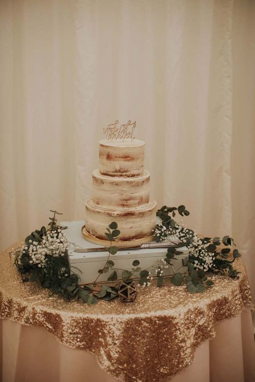 Semi-Naked Wedding Cake With Personalised Cake Topper