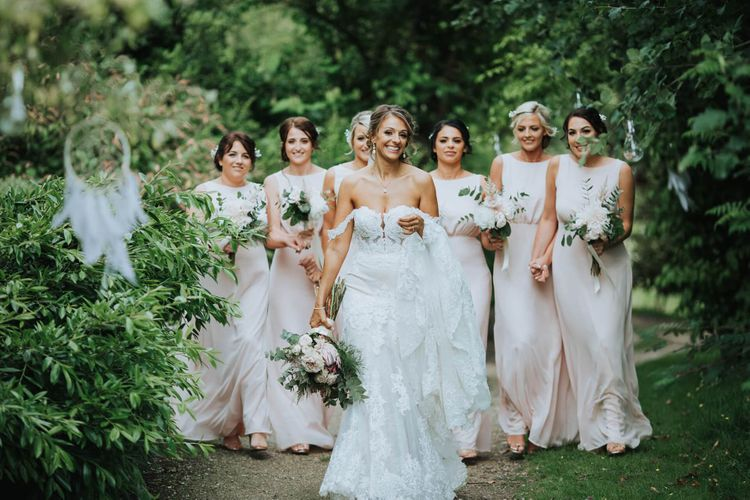 Bridal Party In Pink Bridesmaid Dresses