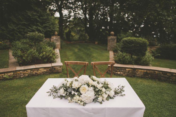 Altar White Wedding Flower Arrangement with Hydrangeas and Roses