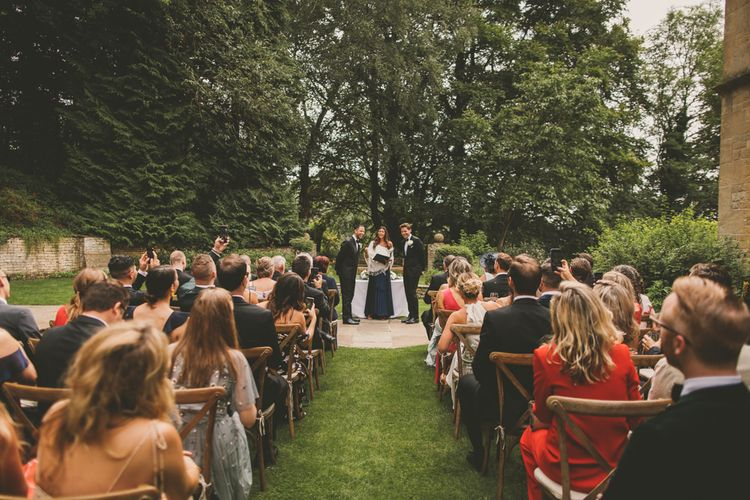 Outdoor Same-sex Wedding Ceremony at Worcestershire Wedding Venue Foxhill Manor