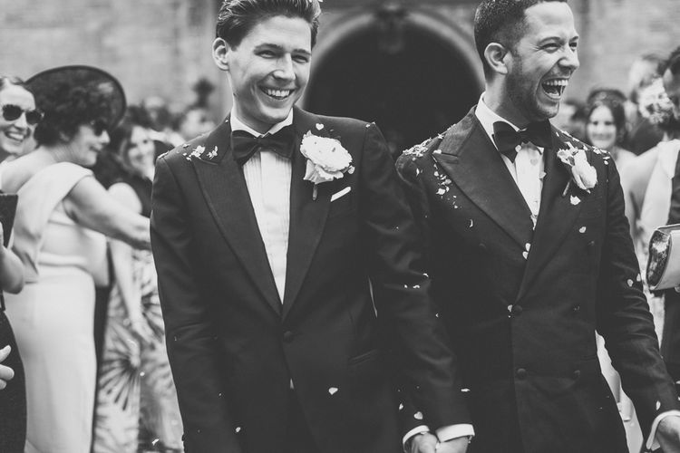 Black and White Portrait of Grooms in Tuxedos