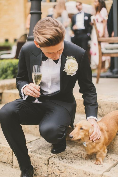 Groom in Tuxedo Stroking His Long-Haired Dachshund