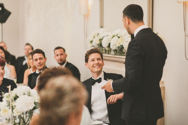 Groom in Tuxedo Giving a Wedding Speech During Wedding Reception at Worcestershire Wedding Venue