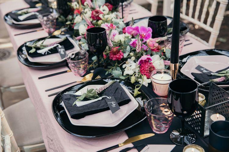 Pink & Black Wedding Tablescape
