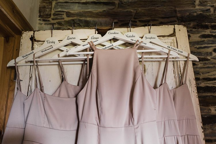 Dusty Pink Bridesmaids Dresses from ASOS on Personalised  Hangers |  Tipi Wedding at Fforest Farm | Claudia Rose Carter Photography