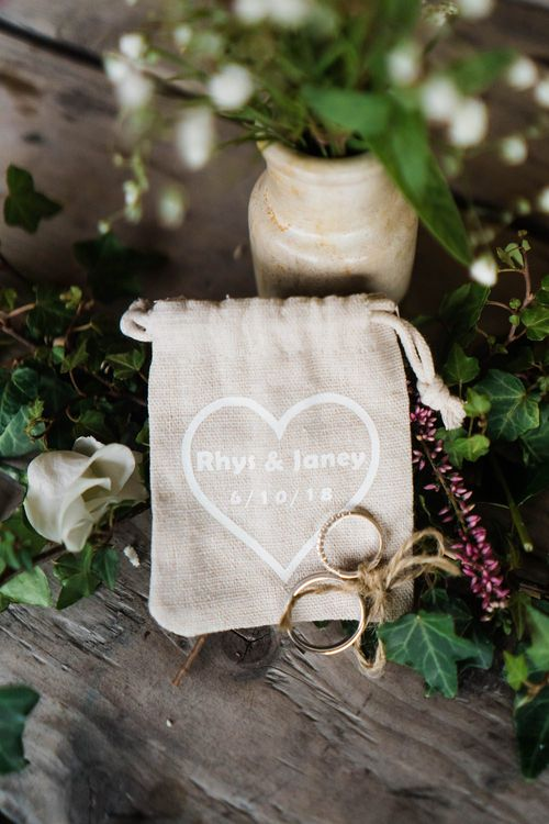 Wedding Rings Tied with Twine | Personalised Hessian Ring Bag | Lace KatyaKatya Dress for Tipi Wedding at Fforest Farm | Claudia Rose Carter Photography