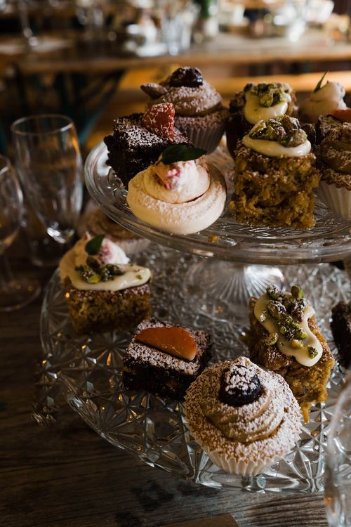 Wedding Reception Afternoon Tea Party | Selection of Cakes on Stand | Lace KatyaKatya Dress for Tipi Wedding at Fforest Farm | Claudia Rose Carter Photography