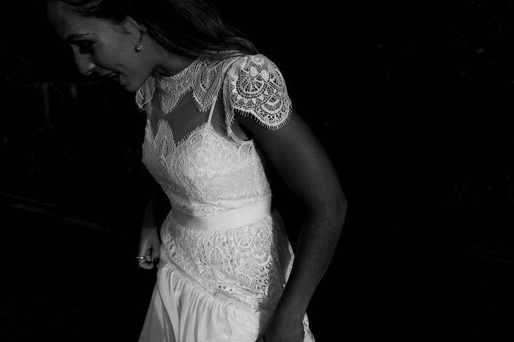Bride in Laced KatyaKatya Wedding Dress with Cap Sleeves and Ribbon Belt | Lace KatyaKatya Dress for Tipi Wedding at Fforest Farm | Claudia Rose Carter Photography
