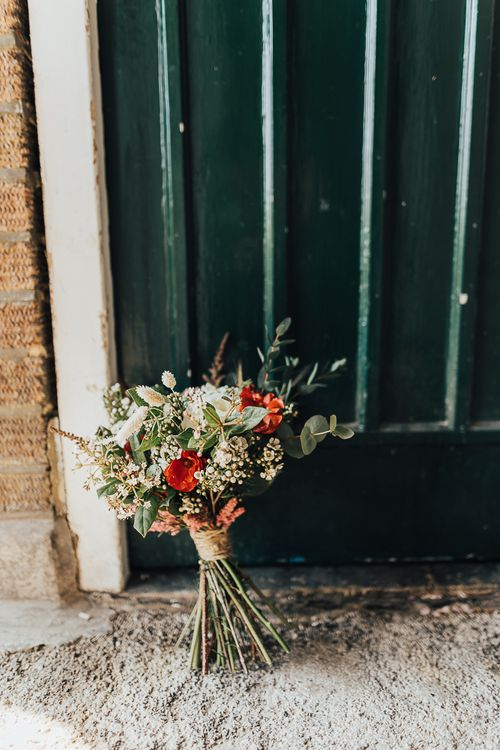 Red, white and green wedding bouquet