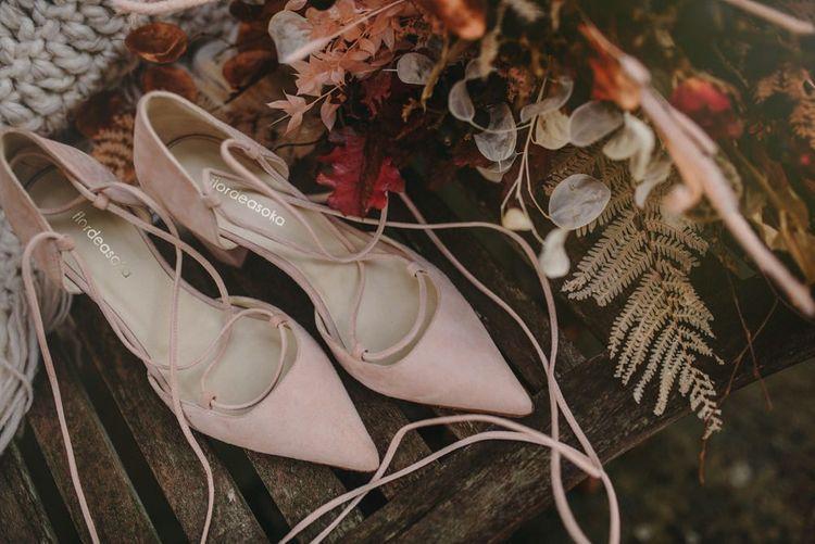 Blush Pink Suede Flor de Asoka Wedding Shoes