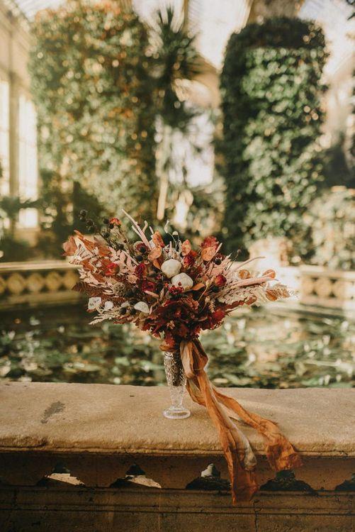 Dried Flower Wedding Bouquet  in a Vase