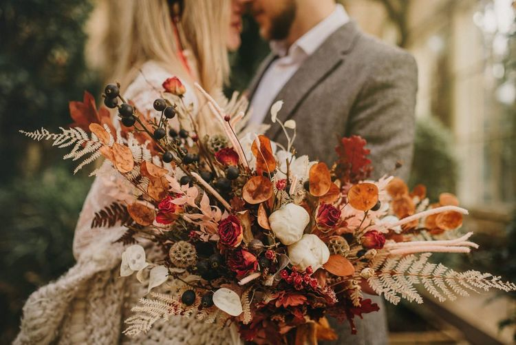 Natural Dried Flower Wedding Bouquet with Roses, Grasses and Foliage