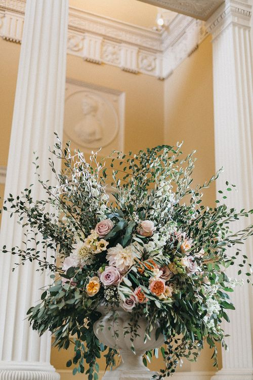Ceremony Decor at Syon Park | Huge Urn of Cafe au Lait Dahlias, David Austin Roses, Hydrangeas, Delphinium, Cosmos, Eucalyptus and Olive | Stunning Syon Park Wedding with Quill Stationery Suite | Nancy Ebert Photography