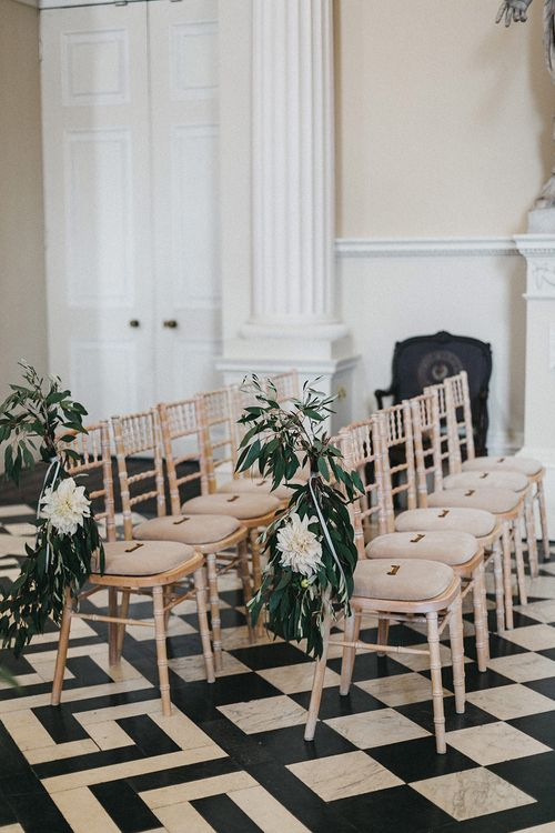 Ceremony Decor at Syon Park | Chair Ends | Stunning Syon Park Wedding with Quill Stationery Suite | Nancy Ebert Photography