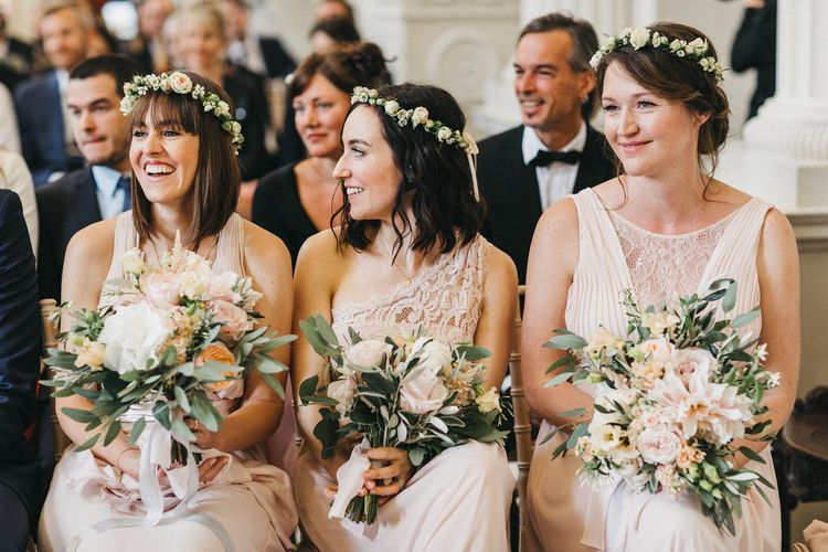 Wedding Ceremony | Bridesmaids in Blush Pink Dresses by Adrianna Papell | Bridesmaid in Blush Pink Jenny Packham for Debenhams Dress | Flower Crowns | Blush, Cream and Pink Bouquets | Stunning Syon Park Wedding with Quill Stationery Suite | Nancy Ebert Photography