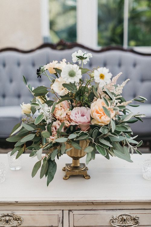 Wedding Reception Decor | Table Urn of Cafe au Lait Dahlias, David Austin Roses, Hydrangeas, Delphinium, Cosmos, Eucalyptus and Olive | Stunning Syon Park Wedding with Quill Stationery Suite | Nancy Ebert Photography