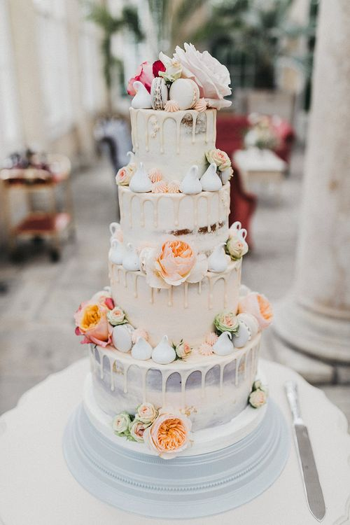Semi Naked Four Tier Drip Cake | Stunning Syon Park Wedding with Quill Stationery Suite | Nancy Ebert Photography