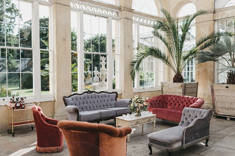 Wedding Reception Decor | Lounge Area with Vintage Furniture | Stunning Syon Park Wedding with Quill Stationery Suite | Nancy Ebert Photography