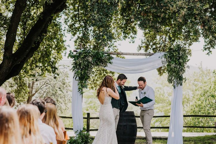 Italian wedding ceremony in Villa gardens