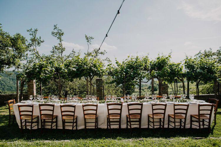 Outdoor wedding breakfast at Italian destination wedding