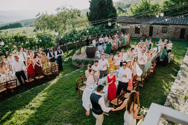 Outdoor wedding breakfast in Italy