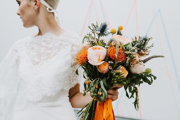 Orange and Peach Vibrant Wedding Bouquet with Ribbon