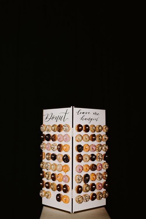 Doughnut Tower with Donut Leave Me Hanging Quote