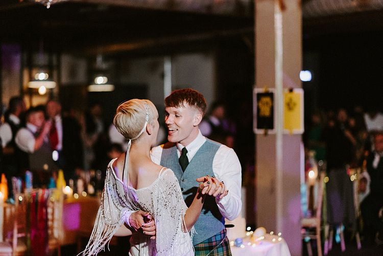 First Dance with Bride in Sassi Holford Wedding Dress and Fringe Cover Up and Groom in Tartan Kilt and Tweed Waistcoat