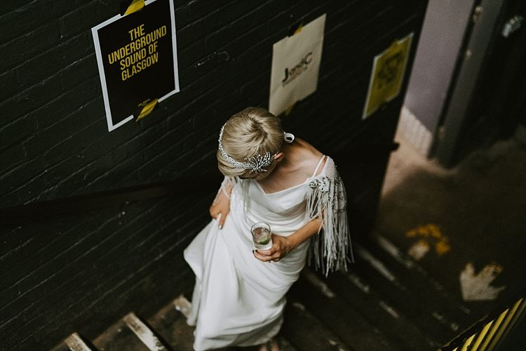 Bride with Short Hair in Sassi Holford Wedding Dress and Fringe Cover Up