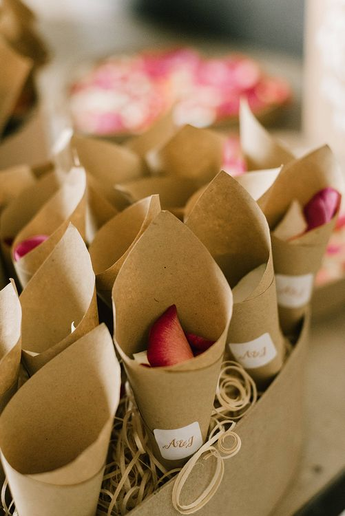 Confetti Cones | Healey Barn Countryside Wedding with Wild Flowers and Bride in Pronovias | Georgina Harrison Photography