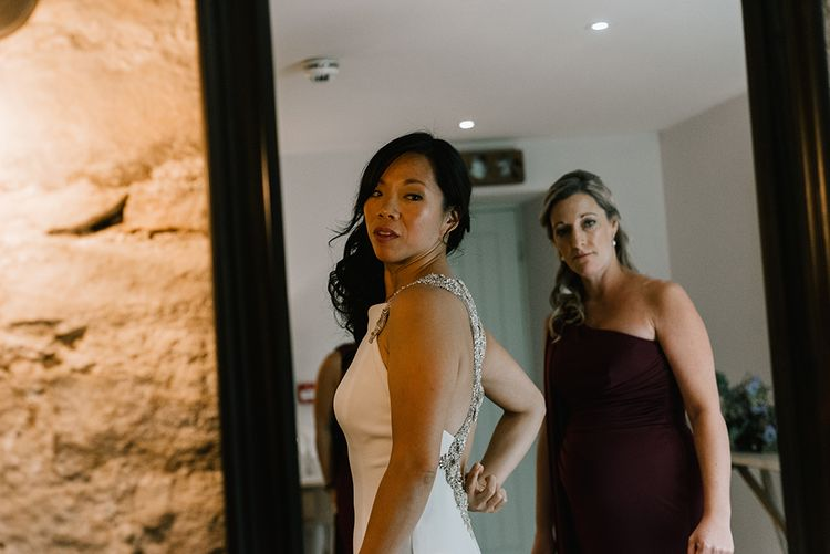 Bridal Morning Preparations | Bride in Racerback Pronovias Wedding Dress | Bridesmaids in Burgundy Phase Eight Dresses | Healey Barn Countryside Wedding with Wild Flowers and Bride in Pronovias | Georgina Harrison Photography