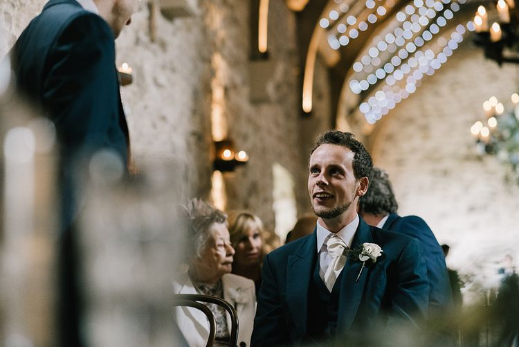 Groom in Navy Blue Morning Suit | Healey Barn Countryside Wedding with Wild Flowers and Bride in Pronovias | Georgina Harrison Photography