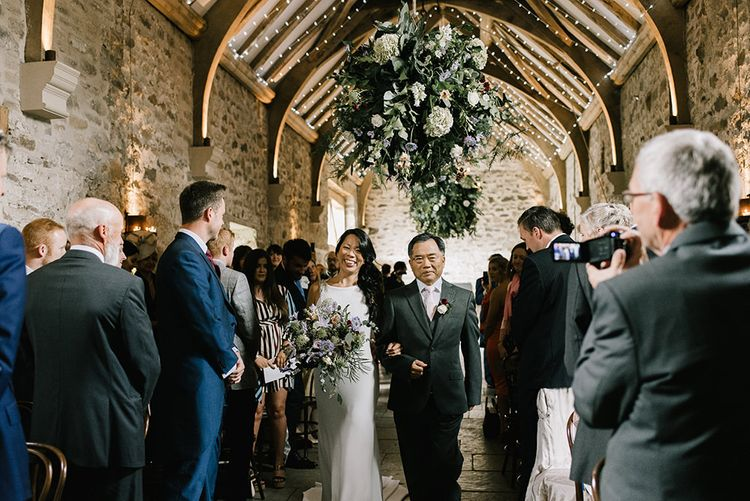 Wedding Ceremony | Bride in Racerback Pronovias Wedding Dress | Groom in Navy Blue Morning Suit | Pastel Bridal Bouquet | Healey Barn Countryside Wedding with Wild Flowers and Bride in Pronovias | Georgina Harrison Photography