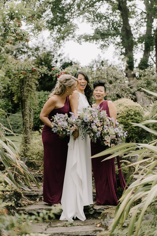 Bridal Party | Bridesmaids in Burgundy Phase Eight Dresses | Bride in Racerback Pronovias Wedding Dress | Healey Barn Countryside Wedding with Wild Flowers and Bride in Pronovias | Georgina Harrison Photography