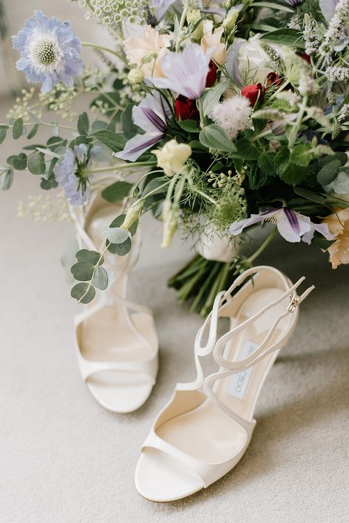 Jimmy Choo Wedding Shoes | Bridal Bouquet of Pastel Wild Flowers | Healey Barn Countryside Wedding with Wild Flowers and Bride in Pronovias | Georgina Harrison Photography