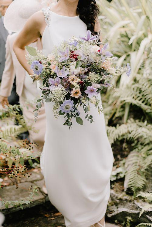 Bridal Bouquet of Pastel Wildflowers | Bride in Racerback Pronovias Wedding Dress | Healey Barn Countryside Wedding with Wild Flowers and Bride in Pronovias | Georgina Harrison Photography