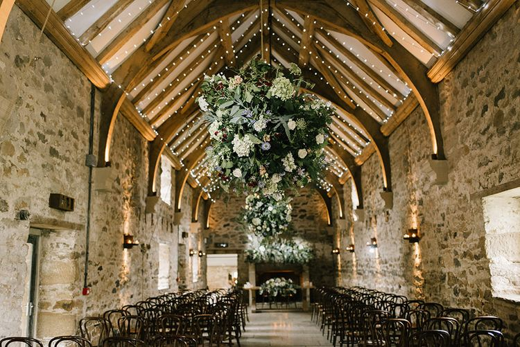 Wedding Ceremony | Healey Barn Wedding Venue | Floral Displays Hanging from Ceiling | Healey Barn Countryside Wedding with Wild Flowers and Bride in Pronovias | Georgina Harrison Photography